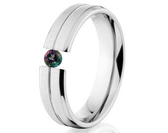 Tension Set Ring, Uniquley You, 5mm,  Titanium Ring, Mystic Topaz, 5B1G-XB-Tension
