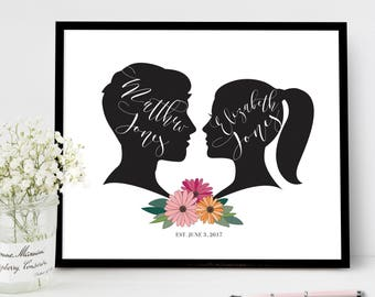 Couples Silhouette Wedding Signs Welcome Floral Wedding Guest Book Sign Custom Personalized Welcome Wedding Reception Poster Daisies