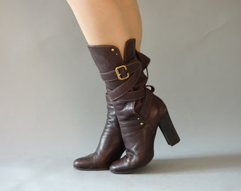 Authentic Chloé pirate boots | Brown leather buckle heeled boots | size 38.5