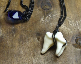 What BIG Teeth You have Necklace - Genuine Coyote Molar, Antique Cobalt Blue chandelier crystal gothic Red Riding Hood necklace Neck Art