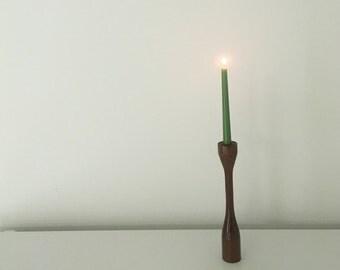 Mid century Mod Candlestick Wood Laminated Taper Vintage