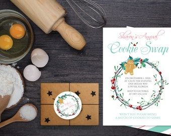 DIY Editable Holiday Invitation, MS Word Template, Cookie Exchange Invitation Template, Cookie swap invite, Cookie Party, Gingerbread Man