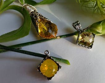 Citrine Necklace and Earrings Set, Created with Swarovski Crystal, Yellow and Silver Wedding Set, Victorian meets modern, Summer, Bridesmaid