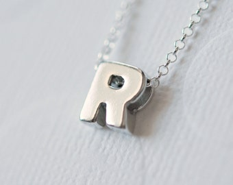 Initial necklace, 925 sterling silver, tiny initial pendant, uppercase letter necklace, custom jewelry, personalized necklace, Mayette