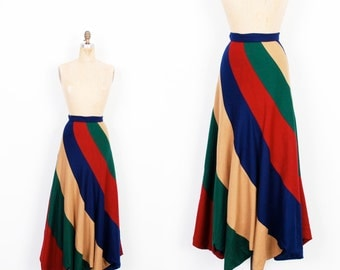 Vintage 1970s Skirt / 70s Striped Wool Scalloped Hem Skirt / Green Blue Red (XS extra small)