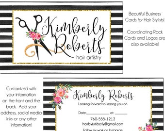 Business Card, 2 Sided, Watercolor Business Card, Hair Stylist Card, Custom Business Card, Hair Stylist Business Card, Appointment Card
