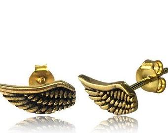 Brass Wing Ear Stud, Nickel free wing stud earrings, Boho earrings, Ear Piercing, Small Wing Studs, Cartilage Earring, Cartilage wing stud