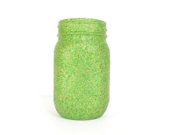 Green and Gold Blend Glittered Pint Mason Jar, Flower Vase, Wedding Decoration, Makeup Brush Holder, Pen and Pencil Holder