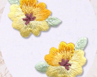 Yellow Flower Patch - Flower Embroidered Iron On Patch, Botanical, Japanese Kawaii Floral Iron on Applique, Cute Embroidery Applique, W301