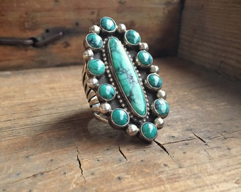 Large vintage turquoise ring sterling silver cluster design, Southwestern jewelry, turquoise jewelry, Native American ring, statement ring