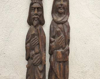 Pair of 1960s wood wall art Queen Isabella King Ferdinand of Spain, Spanish decor, Spanish wood carvings, Spanish Revival, rustic home decor