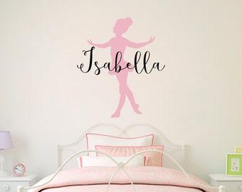 Personalized Ballerina Decal - Little Ballerina with Custom Name Decal - Girl Bedroom Decor - Dancing Wall Art - Ballet Sticker