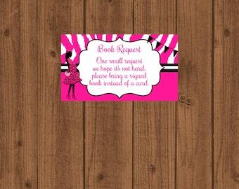 Baby Shower Pink Zebra Book Request, Girls Baby Shower, Pink and Black Zebra Baby Shower, Instant Download