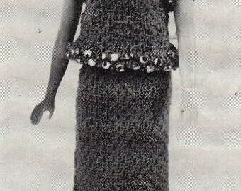 ROCK BOTTOM Price Instant download PDF Sequin Dress Barbie 11.5 fashion doll Knitting Pattern Vintage