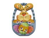 Bunny in Easter Basket Shelf Sitter, Ornament, or Fridge Magnet, Handpainted Wood Refrigerator Magnet, Easter Decor, Tole Painting