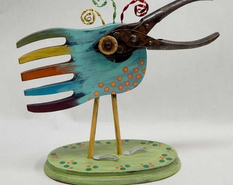 Mixed Media Assemblage Bird Cuckoo Blue