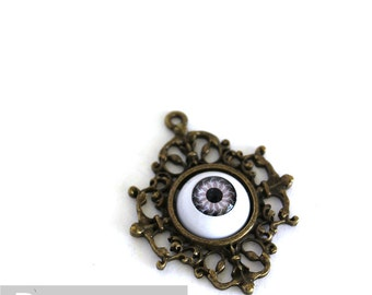 Gray Lavender Evil Doll Eye pendants (5 color option) costume jewelry,keepsake gifts,wedding favors,art work,gothic necklace,macabre cosplay