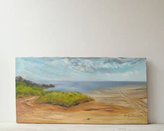 Vintage Beach Painting, Seascape Painting, Hand Painted Artwork Wall Art