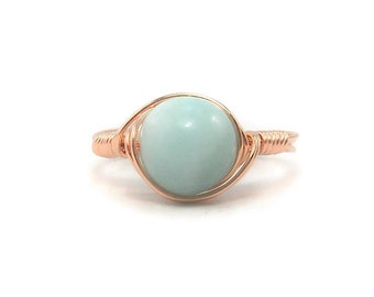 LG Blue Amazonite Ring, B Grade Amazonite, 14k Rose Gold Filled Ring, Wire Wrapped Ring