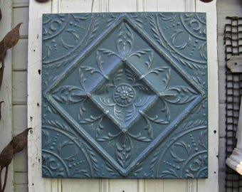 Tin ceiling tile, Antique architectural salvage, Dresden blue wall decor, Framed pressed tin tile panel, tenth 10th anniversary