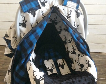 Boy Car Seat Cover/ Car Seat Canopy Custom Deer & Blue Plaid 5 Piece Gift Sets
