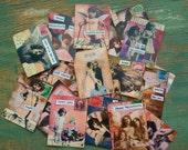"""25 Valentine Stickers, Vintage Ephemera Stickers 1.5"""" x 2"""" (38x51mm) Victorian Valentine, Vintage women, children, cherub stickers, Recycled"""
