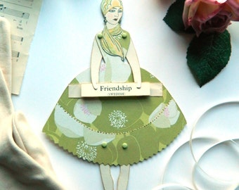 Friendship Paper Doll, Art Deco Gift, Paper Puppet, Jointed Paper Doll, Friend Gift, Friendship Card, Friendship Gift, Gift For Friends