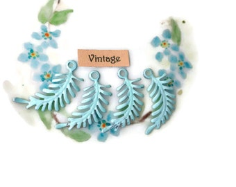 Enamel Metal Leaves Findings Connectors Embellishments Ferns Vintaj Brass Fern Art Nouveau Loop Blue Patina, vintagerosefindings #568B
