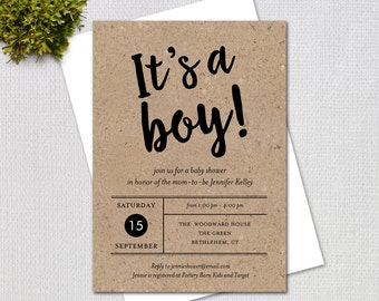 It's a Boy, Rustic Baby Shower Invitation, Fancy Script Kraft Paper, Printable Digital Invitation, #842