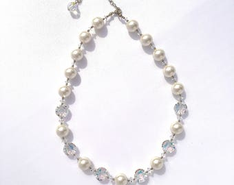 White Swarovski Pearl and Vintage Crystal Necklace, Bracelet and Earring Bridal Jewelry Set