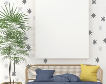 Star Wall Decals, Retro Wall Decor, House Warming Gifts, Nursery Wall Decals, Apartment Wall Decor, Geometric Wall Decal, Mid Century Decor