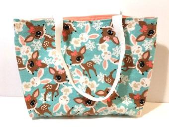 Tote bag,  Kawaii Bag, Easter, Deer and Bunny Tote Bag,  Teacher Bag, Gift for Her, Gift - 20 dollars - Christmas Gift