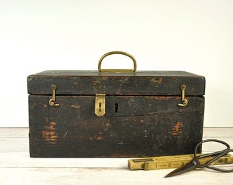 Antique Tool Box, , Vintage Tool Chest, Wood Toolbox, Antique Wood Tool Chest, Industrial Storage
