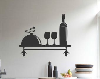 Decorative Faux Kitchen Shelf Decal, Vinyl Wall Lettering, Vinyl Wall Decals, Vinyl Decals, Vinyl Letters, Wall Quotes, Wine Theme