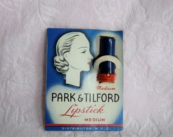 Vintage 1940s PARK & TILFORD LIPSTICK Ladies Tube Art Deco Flapper Era Makeup Make up Silhouette Lady on Front Card New York City Cosmetics