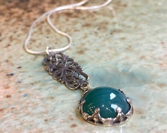 Forest green agate necklace, crown necklace, Sterling silver necklace, gypsy necklace, boho pendant, long pendant - A Place For Us N2049