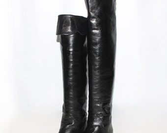 YVES SAINT LAURENT Vintage Black Leather Boots Over Knee Scalloped Cuff 9 - Authentic -