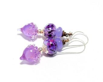 Purple Lampwork Bead Earrings.  Lavender Bead Earrings. Artisan Glass Headpins. Small Dangle Earrings. Gifts For Her. Lampwork Jewelry.