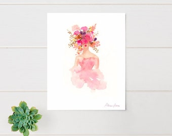 Fashion Illustration Print - Watercolor Fashion Sketch - Flower Crown - Home Decor - Couture - Floral Print - Pastels by Rhian Awni on Etsy