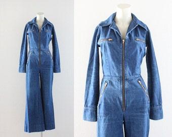 wide leg • zip front denim jumpsuit / 1970's