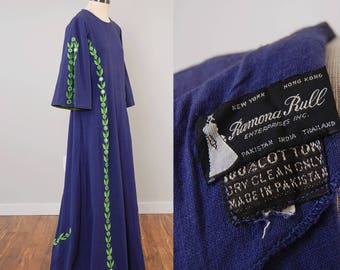 Vintage 60s 70s RAMONA RULL indigo cotton embroidered Indian dress / Mirror details and split bell sleeves / Bohemian caftan maxi
