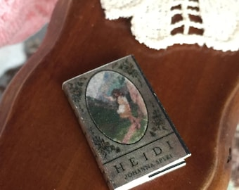 "Miniature Book, ""Heidi"", Printed Inside Pages, Dollhouse Miniature, 1:12 Scale, Mini Book, Readable Book, Dollhouse Book, Tiny B"