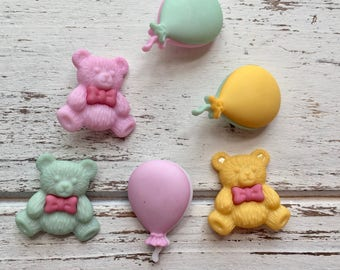 """Teddy Bear and Balloon Buttons, Packaged Novelty Buttons """"Teddies"""" #4080 by Buttons Galore, Shank Back Buttons, Embellishments"""