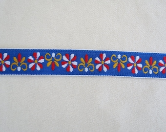 "Vintage Trim - Blue with Red White Yellow Floral 1"" wide trim - Priced Per Yard"