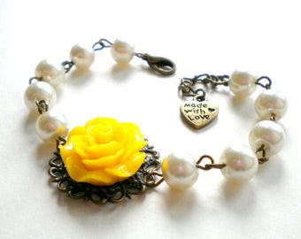Bridal Party Jewelry Yellow Bridesmaid Bracelet Bridal Shower Gift Yellow Bracelet Maid Of Honor Gift Yellow Flower Bracelet Wedding Jewelry