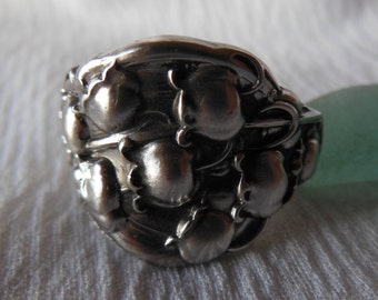 Lily Of The Valley  Antique Spoon Ring  Sterling Silver  Size 9