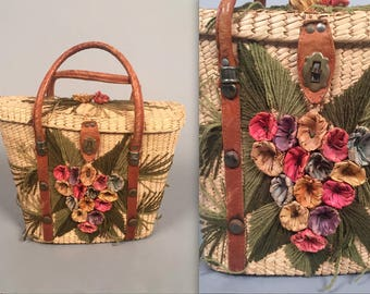 1950s raffia purse• vintage 50s purse • collectable Tiki Oasis handbag