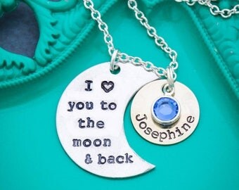 I Love You to the Moon Necklace • Sentimental Gift • Moon and Back Necklace • I Love You Necklace • Crescent Moon•Handstamped Quote Necklace