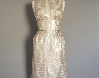 UK Size 12 Shimmer Leaf Sequin Wiggle Dress -  Made by Dig For Victory