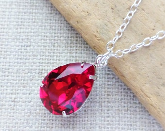 Red Swarovski Crystal Necklace, Siam Red Teardrop Sterling Silver Necklace, Bridesmaid Jewelry, Crystal Pear Drop, Gifts, Rhinestone